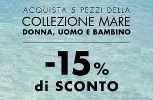 15% di sconto se acquisti 5 articoli della collezione Mare