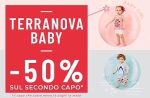 50% di sconto sul 2° capo della linea Baby